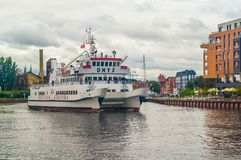 Small tourist ship in Gdansk, Poland Stock Images