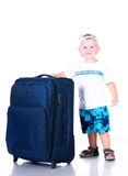Small tourist with suitcase on white background Royalty Free Stock Images