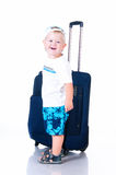 Small tourist with suitcase on white background Stock Image