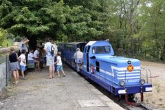 Small tourist train between Sainte Cecile d`Andorge and Saint Ju Stock Image