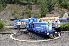 Small tourist train between Sainte Cecile d`Andorge and Saint Ju Stock Photography