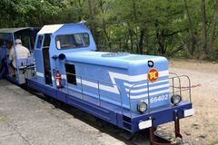 Small tourist train between Sainte Cecile d`Andorge and Saint Ju Stock Photos