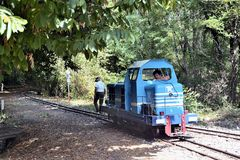 Small tourist train between Sainte Cecile d`Andorge and Saint Ju Royalty Free Stock Photography
