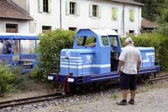 Small tourist train between Sainte Cecile d`Andorge and Saint Ju Stock Images
