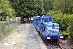 Small tourist train between Sainte Cecile d`Andorge and Saint Ju Stock Photo