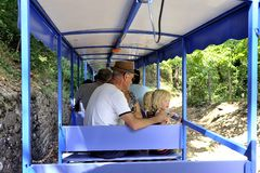 Small tourist train between Sainte Cecile d`Andorge and Saint Ju Royalty Free Stock Image