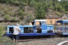 Small tourist train between Sainte Cecile d`Andorge and Saint Ju Royalty Free Stock Photos