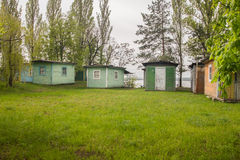 Small tourist wooden houses Royalty Free Stock Image