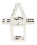 Small tower made of dominoes bones Royalty Free Stock Photo