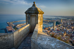 Small tower on the steep of Santa Barbara castle in sunlight, Alicante, Spain Royalty Free Stock Photo