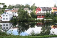 Small town. A small town in Norway called Eidsvoll Royalty Free Stock Photo