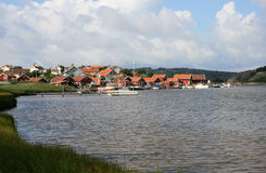Small town. The small town Fjellbacka in Sweden is situated by the sea royalty free stock images