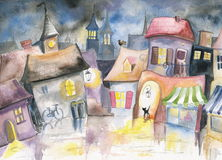 Small town. At night.Picture I have created with watercolors Royalty Free Stock Images