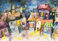 Small town. At rain.Picture I have created with watercolors Stock Images