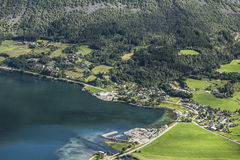 Small town from above. Small Norwegian town from above Stock Image