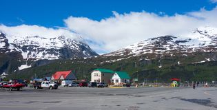 A small town accessed by tunnel at the turnagain arm of alaska Royalty Free Stock Photography
