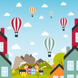 Small town with air balloons Royalty Free Stock Photo