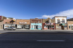 Small Town America Storefronts. Ely, Nevada, USA - October 16, 2016:  Vintage small town storefronts in rural Ely Nevada Royalty Free Stock Photo