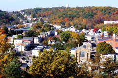 Small town. Looking down on the small town of Port Carbon in Autumn Stock Photography