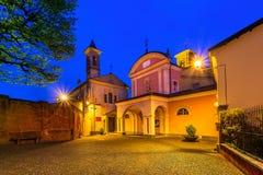 Small town of Barolo at night. Stock Photos