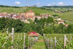 Small town of barolo and vineyards in Italy. Stock Photo