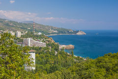 Small town on the Black Sea coast against blue sky Royalty Free Stock Images