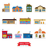 Small Town Buildings Vector Set Royalty Free Stock Image