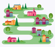 Small Town. Cartoon illustration with abstract map of countryside. Rolling landscape with small village and trees. Colorful houses. Cute street in flat design Royalty Free Stock Photography