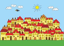 A small town in a cartoon style. house with red roof. Vector illustration of a small town in a cartoon style. house with red roof stock illustration