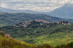 Small town of Castel San Vincenzo. View of the small town of Castel San Vincenzo in the Abruzzo national park Royalty Free Stock Image