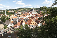 The small town of ceky krumlov czech republic europe Stock Photos