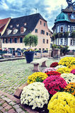 Small town center in Alsace, France Stock Images