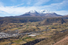 Small Town in the Chilean Altiplano. Small town of Putre in the Arica and Parinacota region of northern Chile. The small town sits in a fertile valley below the Royalty Free Stock Photo