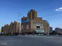 Small town in China. With new buildings and blue sky Stock Photos
