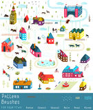 Small Town or City Houses Buildings Landscape Big Royalty Free Stock Photos