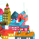 Small Town or City with Houses Roofs Illustration Stock Photography