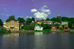 Small town with colorful houses. Town Porvoo is located nearby Helsinki. It is well known about old wooden houses. There is beautiful river in the middle of the Stock Image