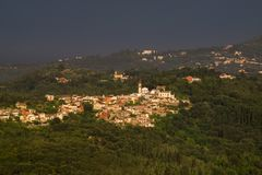 Small town at corfu island. Telephoto of a small town at Corfu island ,Greece Stock Image