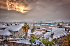Small town covered in snow - HDR image. HDR photograph of small and old Dalmatian town in Croatia, covered in snow Stock Photos