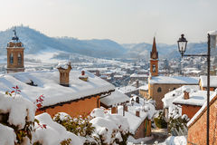 Small town covered with snow in Italy. Stock Photography