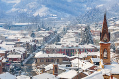 Small town covered with snow in Italy. Royalty Free Stock Photos