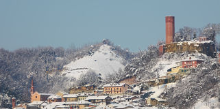 Small town covered with snow. Piedmont, Italy. Stock Photography
