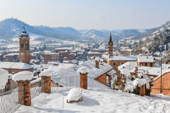 Small town covered with snow. Stock Photo