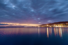 Small town Crikvenica on the Adriatic sea at night Stock Images