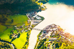 Small Town And Cruise Port Aurlandsvangen In Norwegian Fjords. V Royalty Free Stock Photo