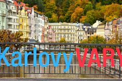 Karlovy Vary SPA Town Health. Small town in Czechoslovakia. In autumn. Health resort town. City Karlovy Vary, October 2017 royalty free stock photo