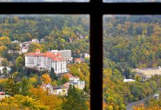 City Top View Picturesque Buildings. Small town in Czechoslovakia. View true the window of Diana tower from the hill in autumn. Karlovy Vary, October 2017 royalty free stock image