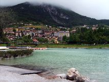 Small town in the Dolomite Mountains Royalty Free Stock Images