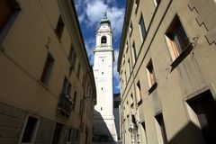 Bell tower of Belluno cathedral Royalty Free Stock Photo