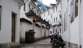 The small town dwellings with Jiangnan characteristics in China. Are tall and beautiful. White walls, black tiles, winding streets, very warm houses royalty free stock photography